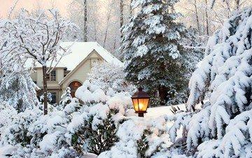 небо, деревья, снег, природа, зима, пейзаж, парк, сад, дом, фонарь