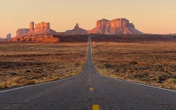 дорога, горы, скалы, пустыня, сша, юта, штат юта, долина монументов