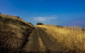 дорога, трава, холмы, голубое небо, leonid len