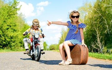 road, summer, glasses, children, girl, boy, suitcase, hitchhiking, moped