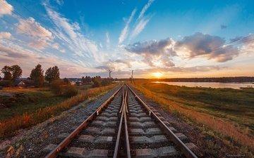 небо, дорога, облака, солнце, железная дорога, рельсы, утро, рассвет, лето, афиногенова татьяна