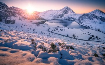 road, lake, mountains, the sun, snow, winter