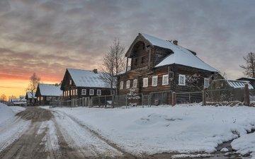 дорога, вечер, снег, деревня, дома, россия, весна, карелия, ялгуба