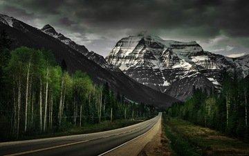 дорога, облака, деревья, горы, скалы, снег, альпы