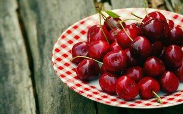 доски, черешня, спелая, блюдце, ягоды, вишня