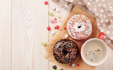 coffee, candy, donuts, cakes, glaze, pills