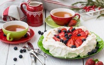 food, apples, strawberry, blueberries, tea, cake, dessert, cream