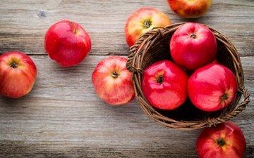 еда, фрукты, яблоки, доски, плоды, корзинка