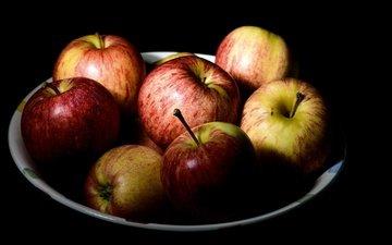 еда, фрукты, яблоки, черный фон, плоды