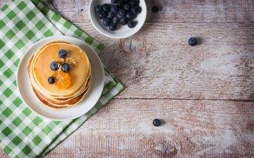 еда, черника, завтрак, мед, блины