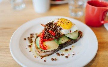 еда, кофе, бутерброд, завтрак, авокадо, сэндвич, яичница