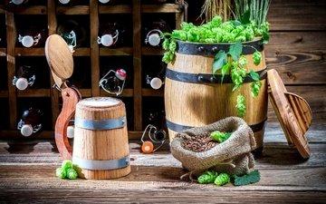 food, mug, drinks, beer, bottle, hops, barrel