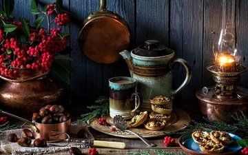 nuts, food, lamp, mug, berries, dishes, kettle, still life, rowan, cake, cupcakes, chestnuts