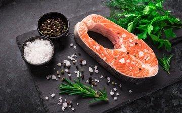 зелень, еда, рыба, укроп, морепродукты, петрушка, специи, соль, розмарин, красная рыба