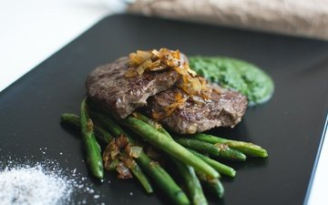 еда, овощи, мясо, соус, спаржа, отбивная