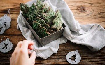 tree, hand, christmas trees, sweet, cookies, cakes, dessert