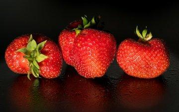 фон, капли, клубника, ягоды
