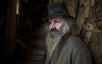 фон, портрет, человек, мужчина, старик, борода, седина, морщины