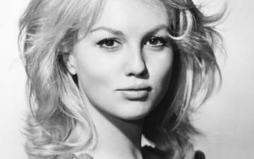 блондинка, портрет, чёрно-белое, волосы, лицо, актриса, mylene demongeot, милен демонжо