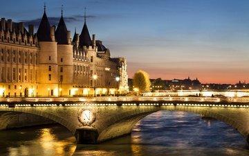 фонари, огни, вечер, река, закат, мост, дома, париж, франция