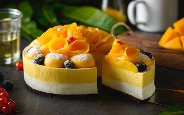 фрукты, ягоды, персики, черника, выпечка, торт, десерт, смородина, манго
