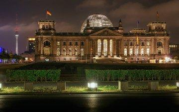 вечер, здание, германия, берлин, рейхстаг