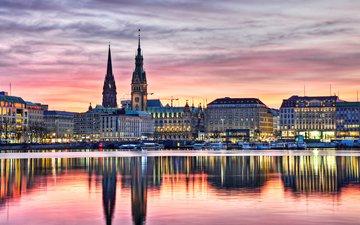 вечер, река, отражение, город, здания, германия, гамбург