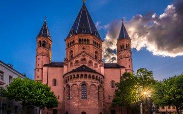 небо, облака, германия, кафедральный собор, майнц, майнцский собор