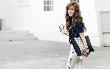 girl, street, jeans, handbag, asian, jacket, photoshoot, snsd, cup, girls' generation, k-pop, jessica jung, snsd jessica