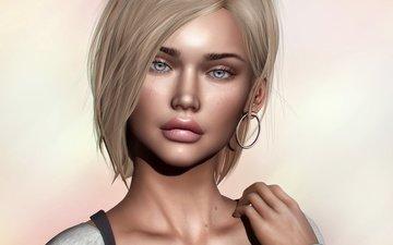 eyes, girl, look, rendering, hair, lips, face, hairstyle, earrings