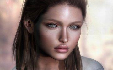 глаза, девушка, фон, взгляд, волосы, губы, лицо
