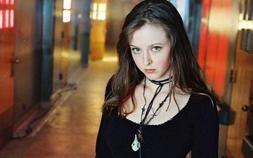eyes, girl, look, hair, face, actress, black dress, katherine isabelle