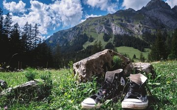 the sky, grass, clouds, trees, mountains, sneakers, stone