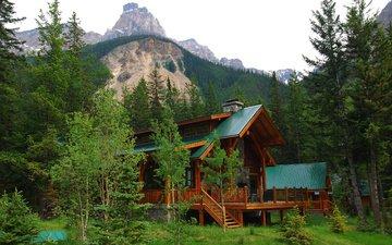 небо, деревья, горы, лес, дом, канада, коттедж, провинция альберта