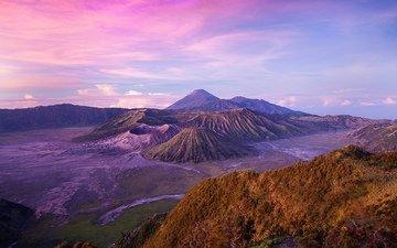 горы, природа, пейзаж, вулкан, индонезия, ява