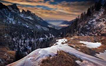 the sky, clouds, trees, mountains, snow, winter, italy, valley