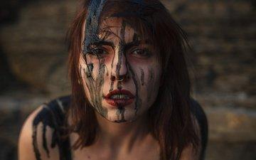 dirt, girl, drops, look, hair, lips, face, piercing, brown-eyed, aleah michele
