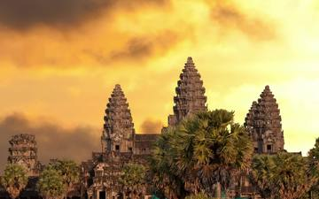 temple, sunset, asia, tower, cambodia, angkor wat