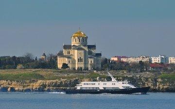 temple, the black sea, boat, connection, sevastopol, hersonissos, orthodox