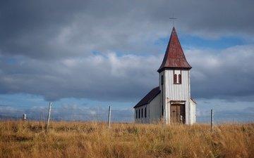 небо, трава, облака, храм, поле, забор