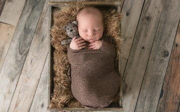 сон, мишка, игрушка, ребенок, младенец, ящик, закрытые глаза