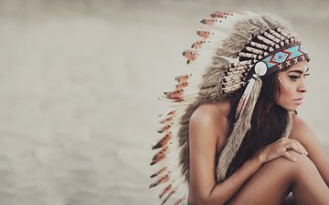 girl, background, brunette, look, model, hair, face, feathers, headdress, turkey