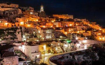 ночь, фонари, город, дома, италия, дороги, здания, матера, базиликата