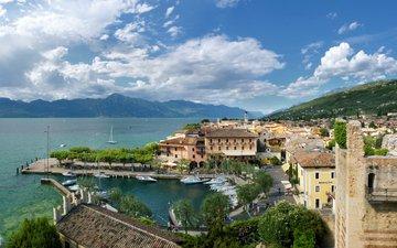 небо, облака, горы, италия, торри-дель-бенако