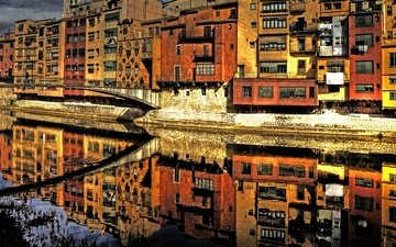 reflection, bridge, italy, florence, the arno river