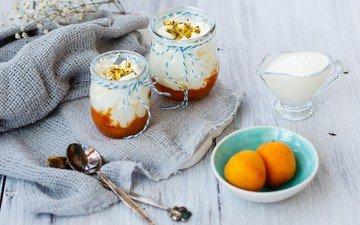 орехи, фрукты, сладкое, сливки, десерт, абрикосы, ложки, йогурт, julia khusainova, панна-котта, крем