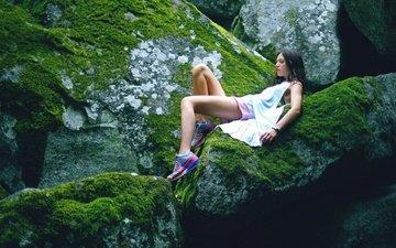 nature, stones, girl, brunette, stone, feet, moss, lying, natasha shelyagina