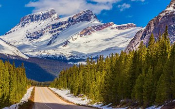 the sky, road, clouds, trees, mountains, snow, forest, winter, canada, alps, banff national park
