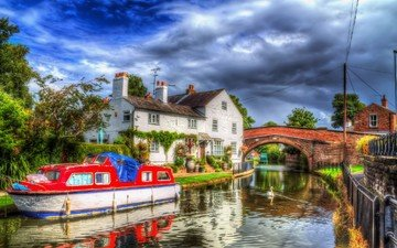 the sky, clouds, uk, the city, channel, england, lymm