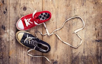 sneakers, heart, shoes, laces, wooden surface